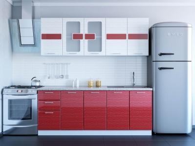 Кухня Гамма красный-белый дождь