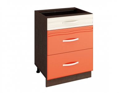 Стол с 3 ящиками - метабоксы 09.66 Оранж 600х530х820